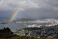 Wellington rainbow canvas print