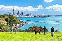 Tourists in Auckland, Bastion Point